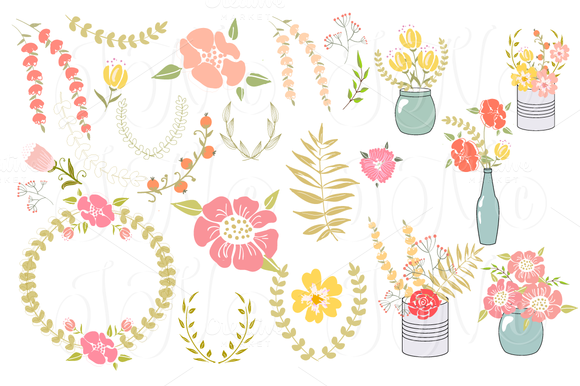 34 Unique Wedding Floral Clipart