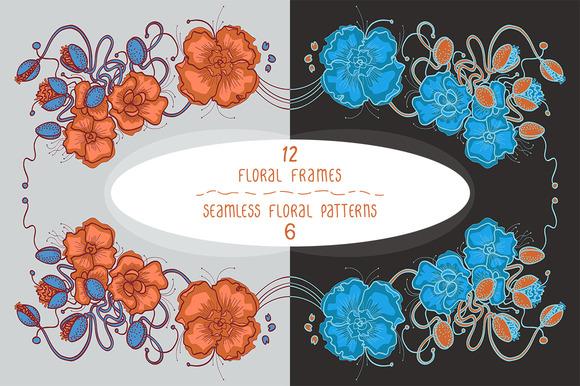 12 Floral Frames 6 Patterns