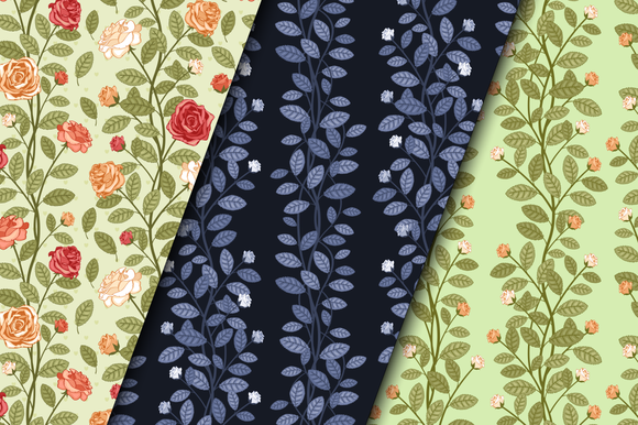 Seamless Floral Patterns With Roses