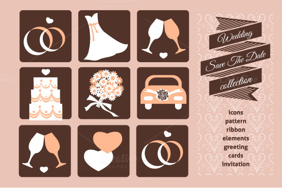 Weeding Set Icons And Card