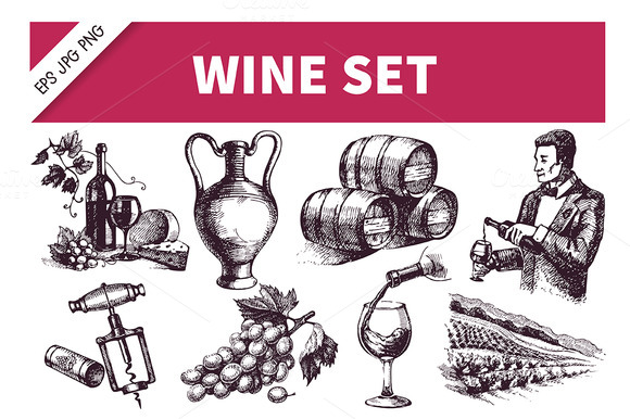 Sketch Wine Hand Drawn Set