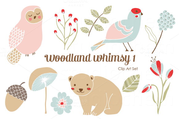 Woodland Whimsy 1 PNG Clip Art Set
