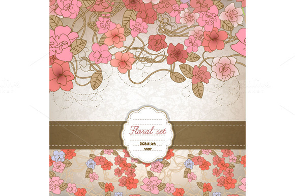 Flower Designs Papers Vintage Style