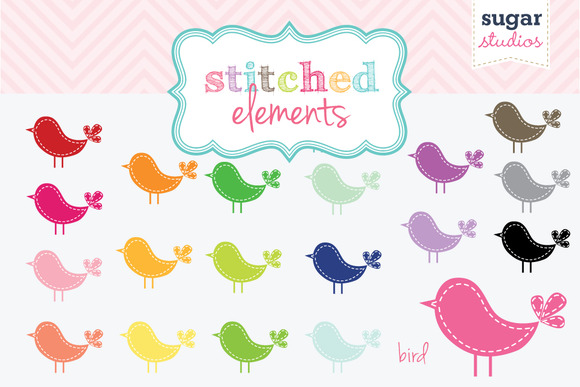 Stitched Bird Digital Clipart