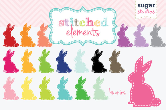 Stitched Bunnies Digital Clipart