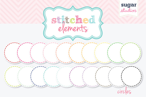 Stitched Circles Digital Clipart