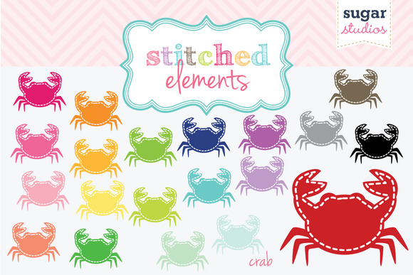 Stitched Crabs Digital Clipart