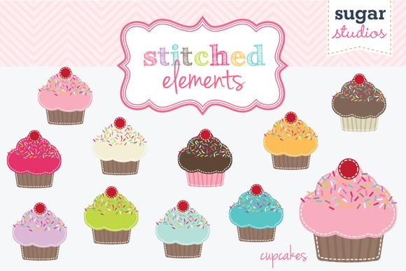 Stitched Cupcake Digital Clipart