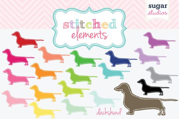 Stitched Dachshund Digital Clipart