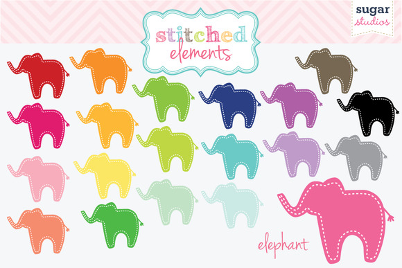 Stitched Elephant Digital Clipart