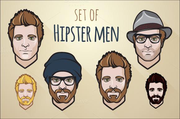Set Of Hipster Men