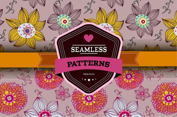 Set Of 2 Romantic Seamless Patterns