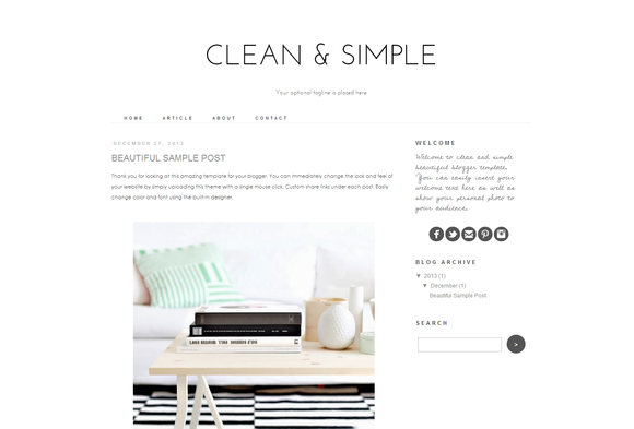 Blogger Template Clean And Simple