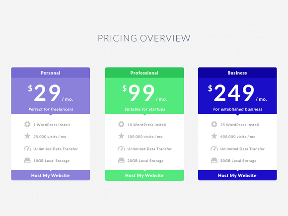 Flat Pricing Table Template