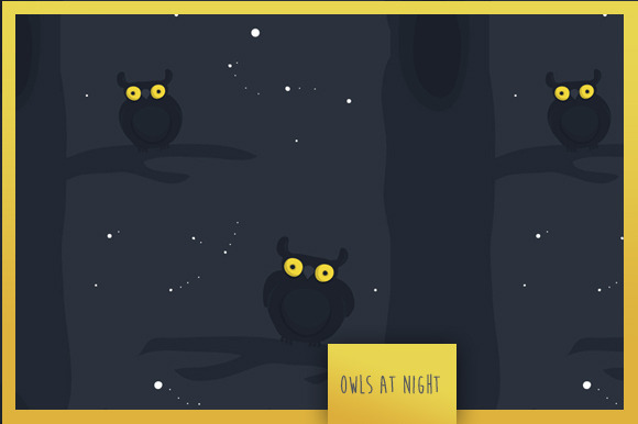 Seamless Pattern Owls At Night