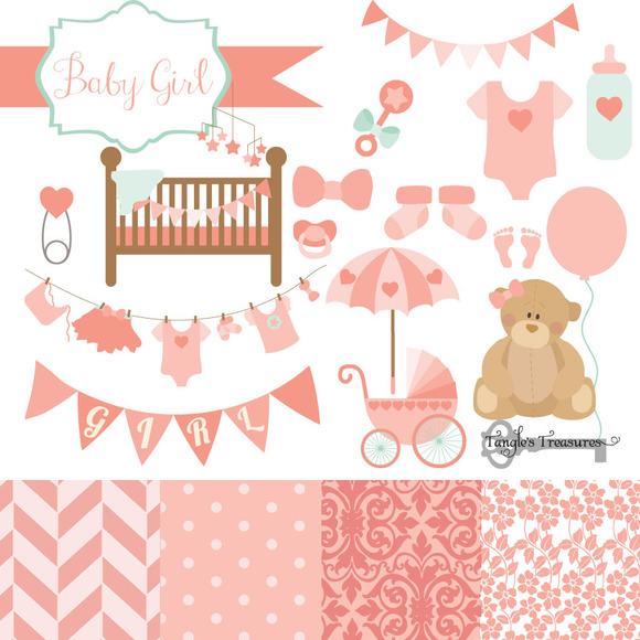 Baby Girl Clipart Vectors