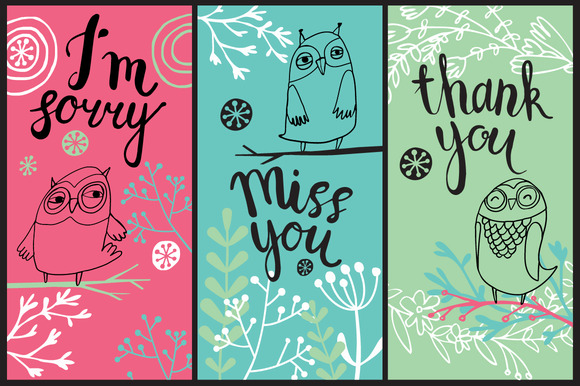 3 Cute Cards With Owls