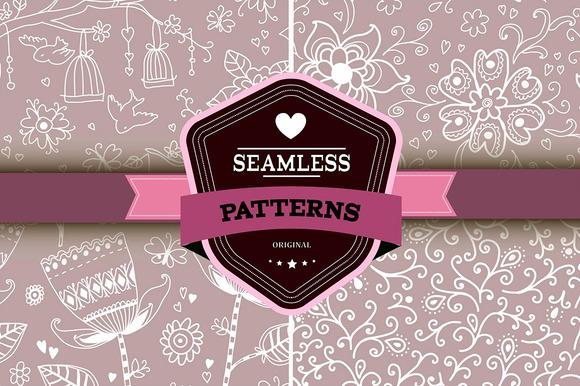 Set Of 4 Romantic Seamless Patterns