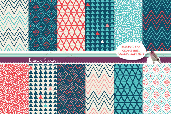 Hand Made Geometric Digital Papers