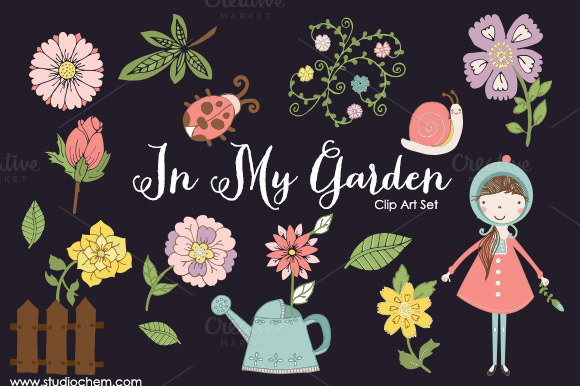 In My Garden PNG Clip Art Set