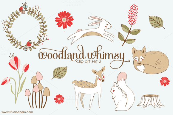Woodland Whimsy 2 PNG Clip Art Set