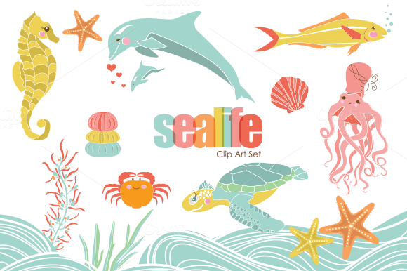 Sweet Sealife PNG Clip Art Set