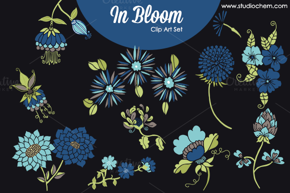 In Bloom Blue Flowers PNG Clip Art