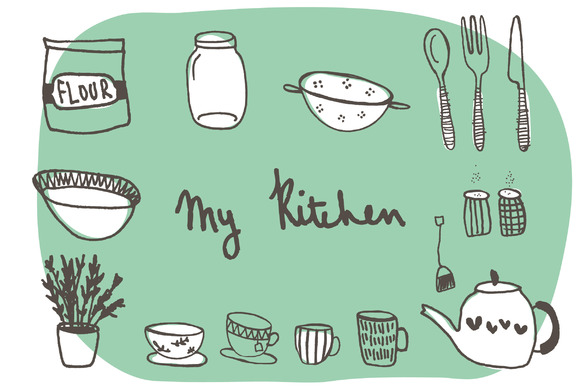 Hand Drawn Kitchen Clip Art