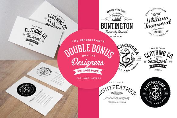 Business Card Mockup Vintage Logos
