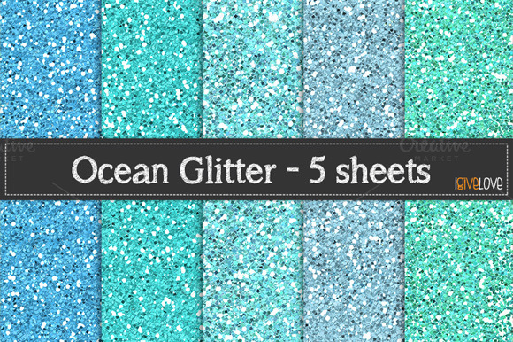 Ocean Glitter Paper