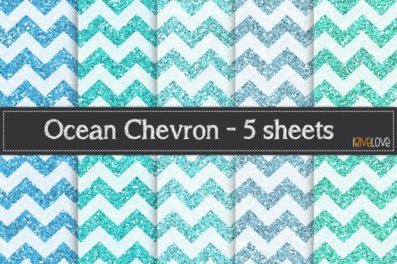 Ocean Chevron Glitter Paper