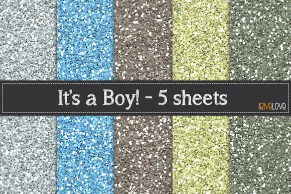 It S A Boy Glitter Paper