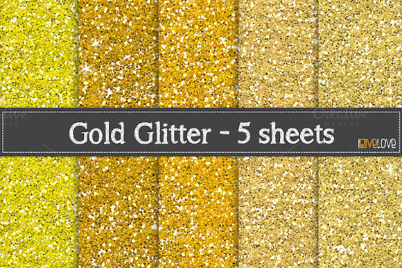 Gold Glitter Paper Pack