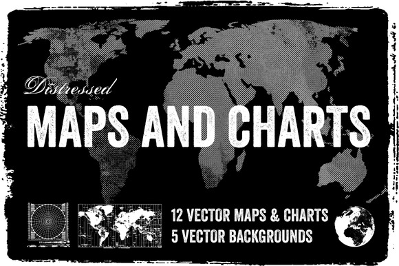 Distressed Vector Maps Charts