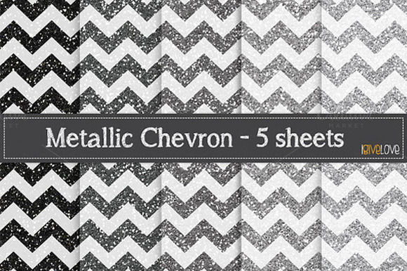 Metallic Chevron Silver GLitter