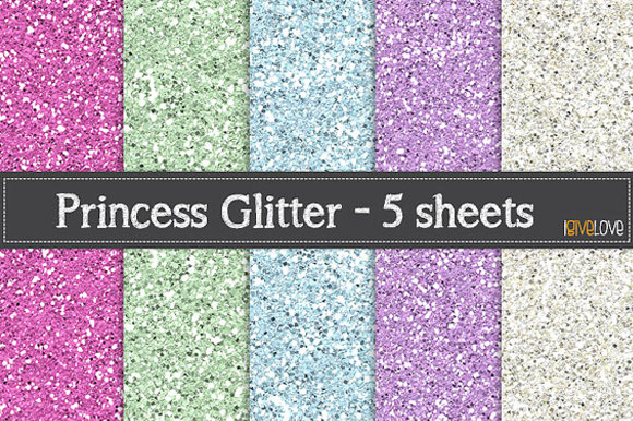 Princess Glitter Paper Pack