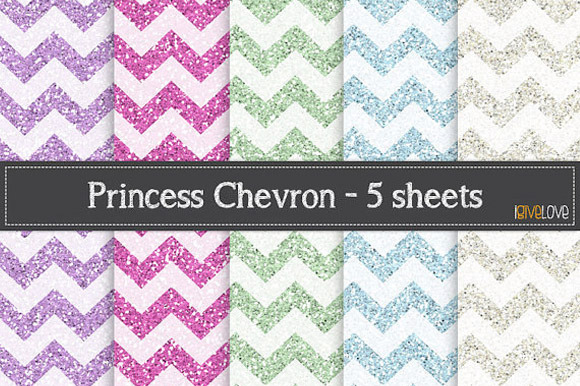 Princess Chevron Glitter Pack
