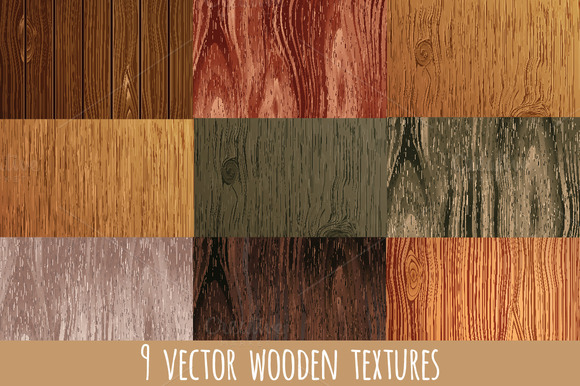 Set Of 9 Vector Wooden Textures