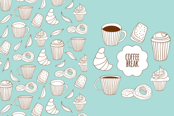 Coffee Break Doodle Set