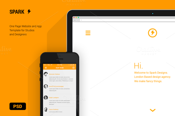 Spark Website App Template PSD