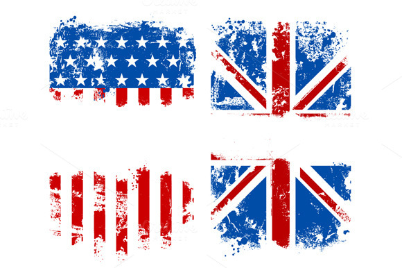 USA And UK Grunge Flags