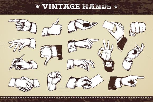 30 Vintage Hands
