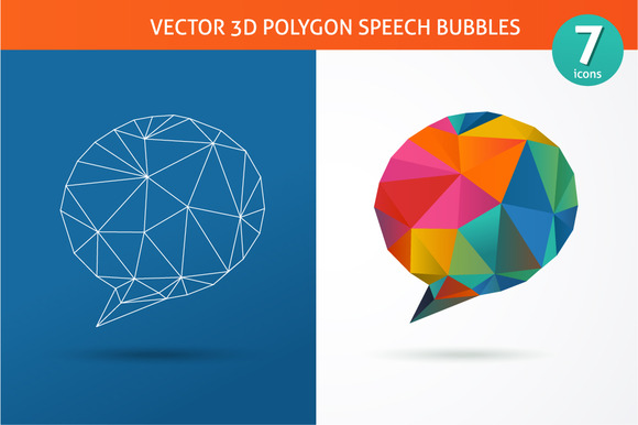 Polygon Vector Speech Bubbles Icons