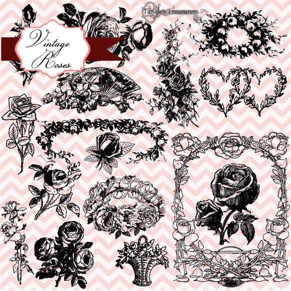 Vintage Roses Clipart Brushes