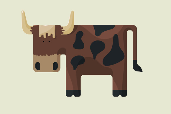 Cute Brown Cartoon Bull With Horns
