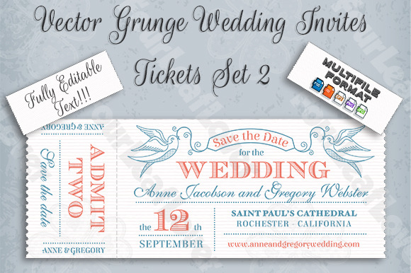 Vector Editable Wedding Invites Set2
