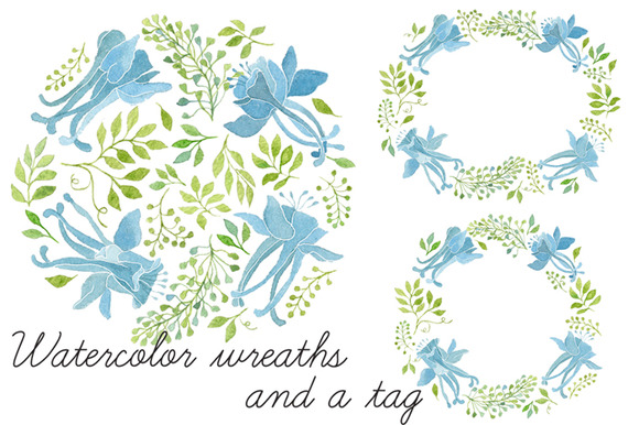 Watercolor Floral Wreaths And Tag