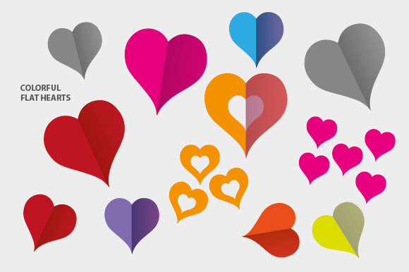 Colorful Flat Hearts