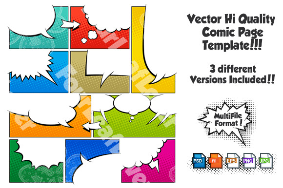 Color Comic Book Page Template Set3