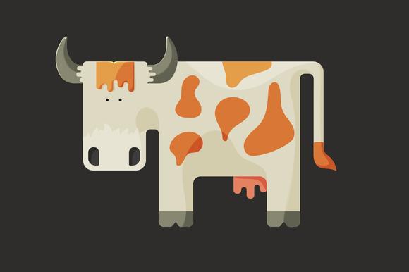Cute White Cartoon Cow With Horns